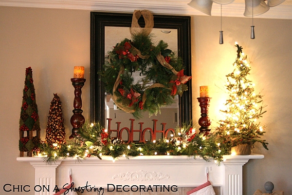 Rustic Christmas mantel decorating idea with smart lighting