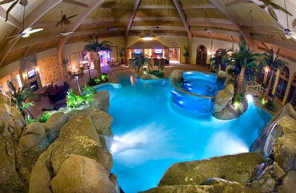 Salt-water aquarium and waterfalls usher in a tropical lagoon setting