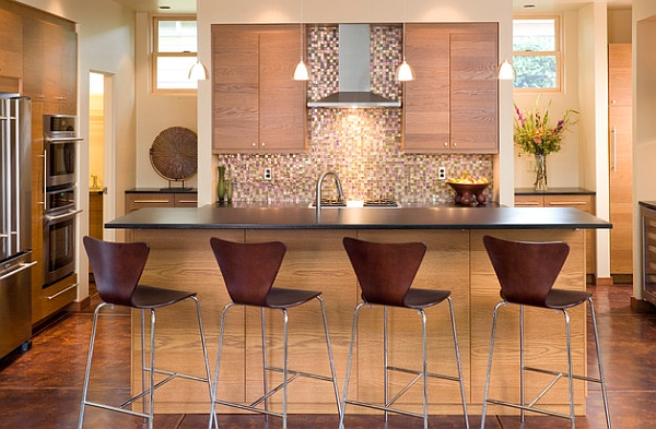 View In Gallery Series 7 Stools Blend With The Wooden Tones Of The Kitchen