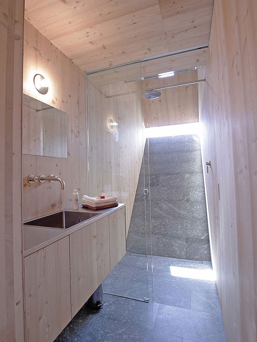 Shower area with sliding glass doors