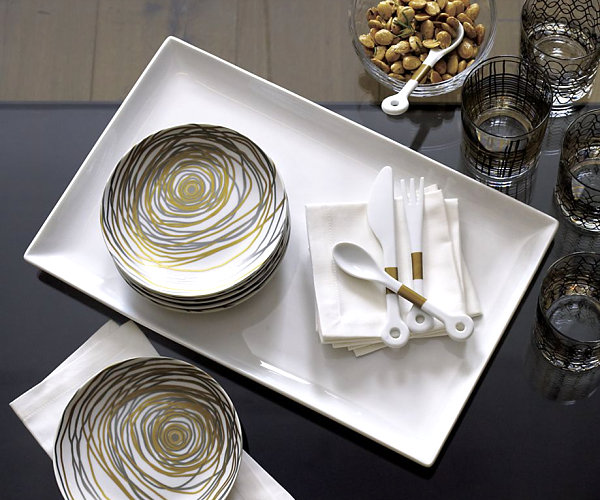 Silver and gold appetizer table