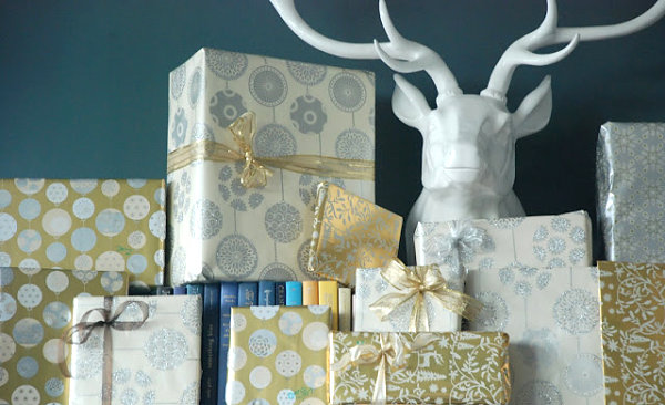Silver and gold gift wrap