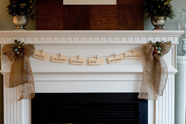Simple and rustic arrangement adorns the mantel