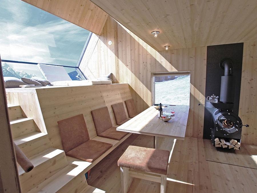 Skylights and windows inside mountain cabin