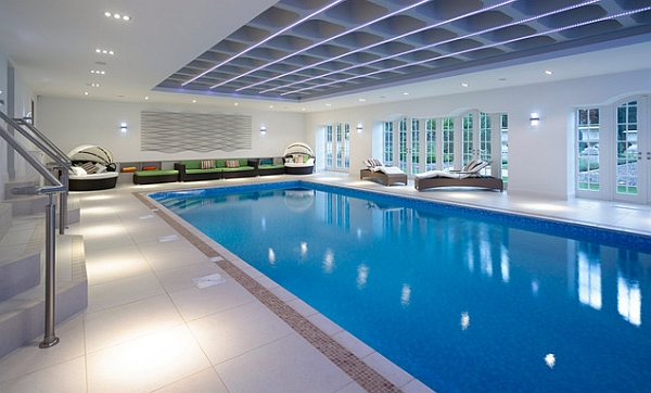 50 indoor swimming pool ideas taking a dip in style for Domestic swimming pool design