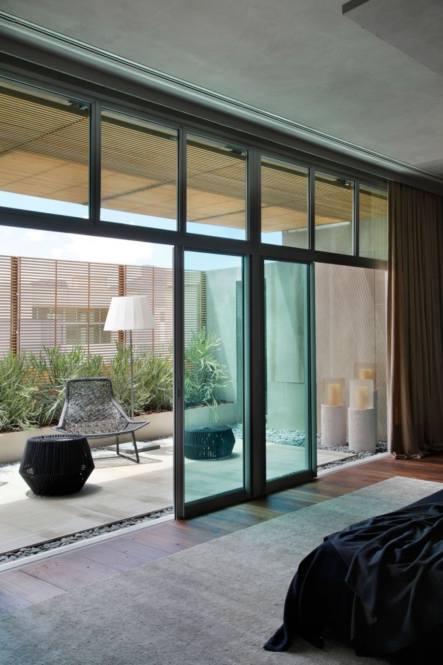 Sliding glass doors for the bedroom