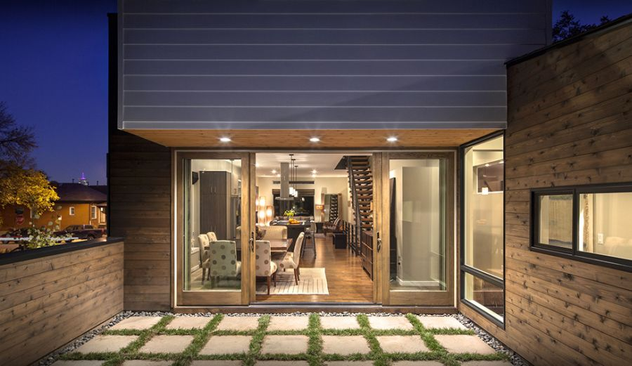 Sliding glass doors leading to outdoor space