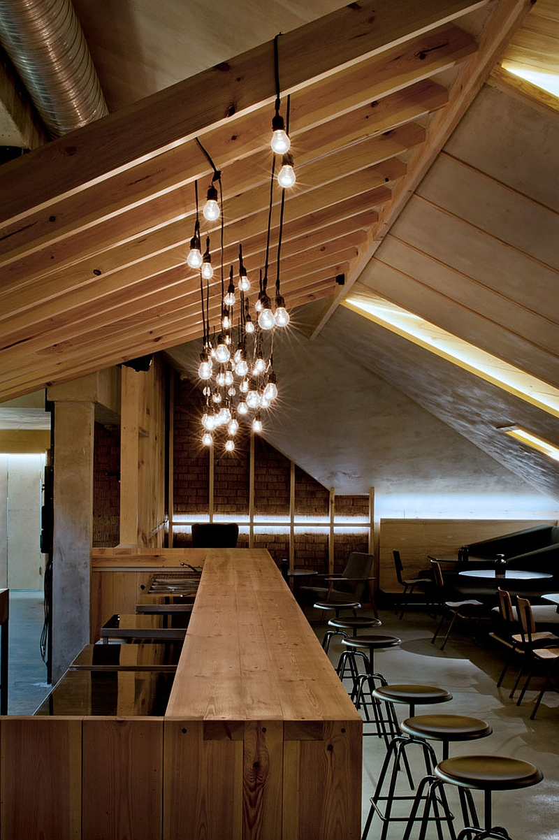 Sloped roof of the attic bar