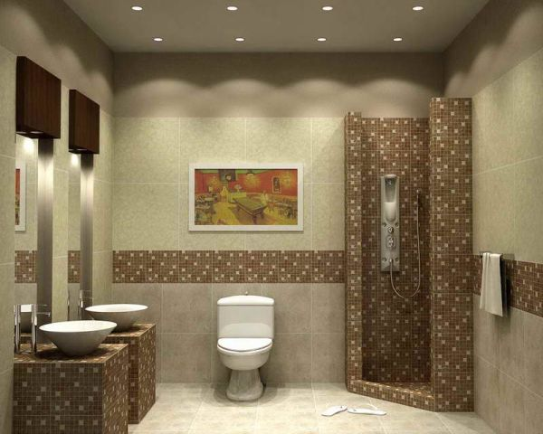 Small bathroom tile design with matching flooring