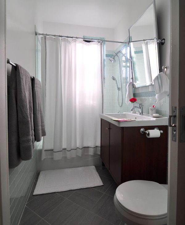 Small modern bathroom with diagnol floor tiles
