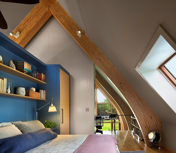 Smart blue shelves bring the contemporary bedroom alive