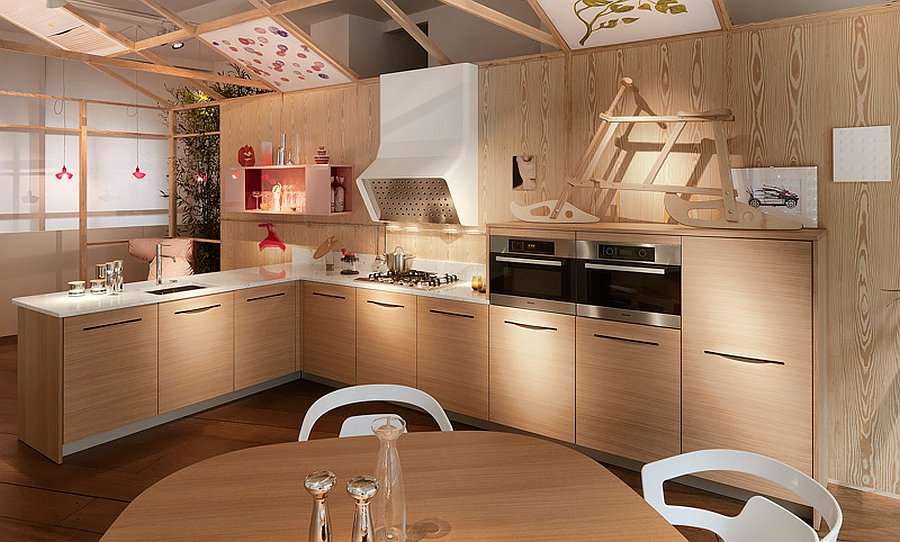 Smart modern kitchen fetaures cabins with slit handles