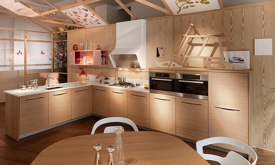 Smart modern kitchen fetaures cabins with slit handles