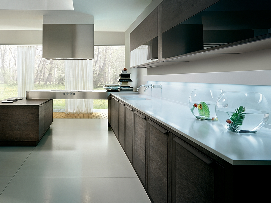 Smart modern kitchen with stainless steel countertop