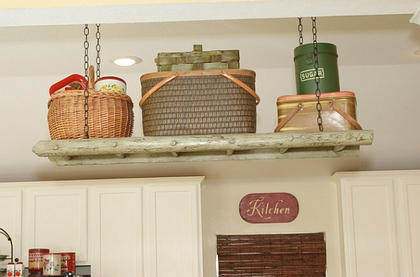 Stepping it up in style 50 ladder shelves and display ideas for Traditional kitchen shelves
