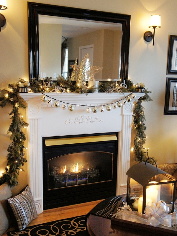 Smartly decorated Christmas mantel in green and white