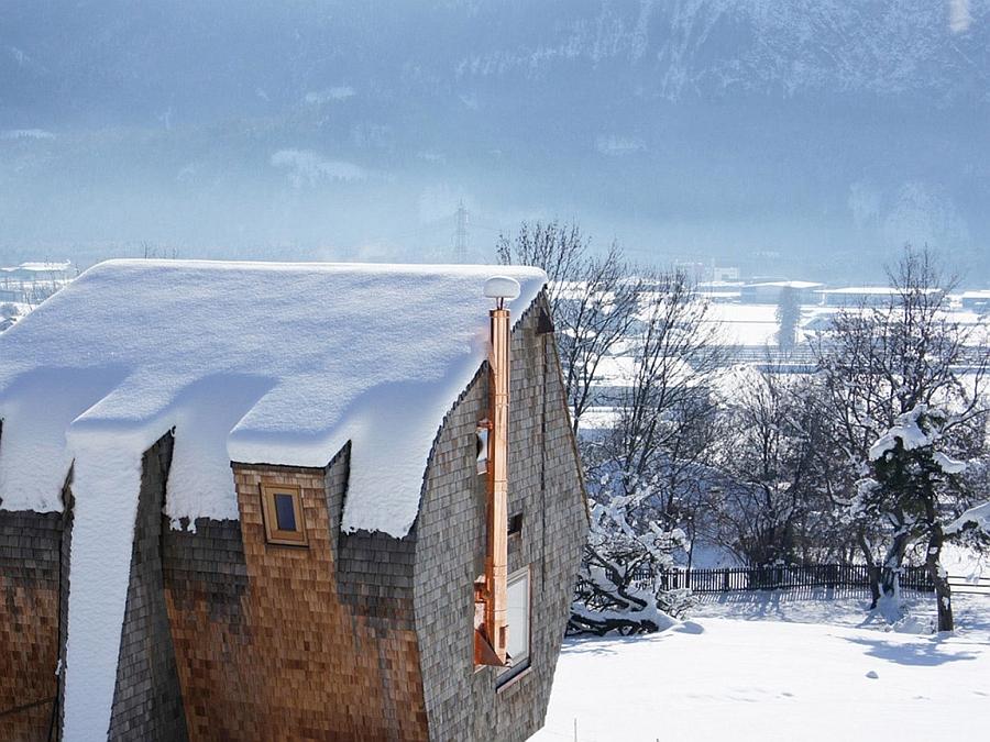 Snow-clad exterior of Ufogel