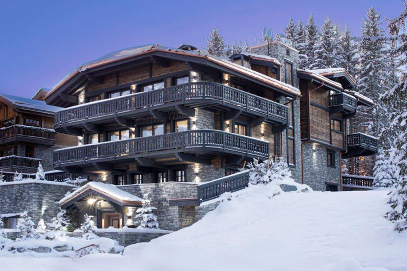Snow-covered ski slopes of Courchevel around Chalet Edelweiss