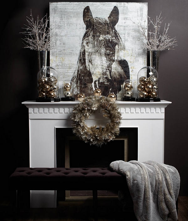 50 christmas mantle decoration ideas for Modern christmas decor