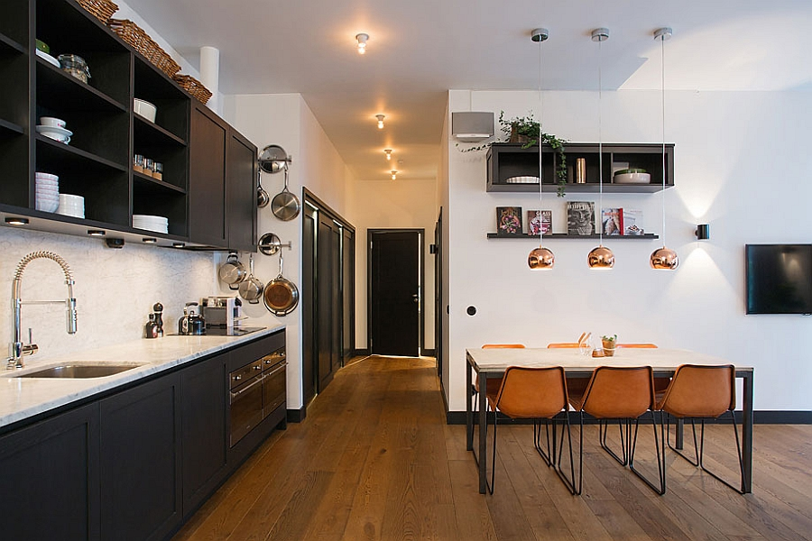 Spaciou kitchen and dining area in the Swedish apartment