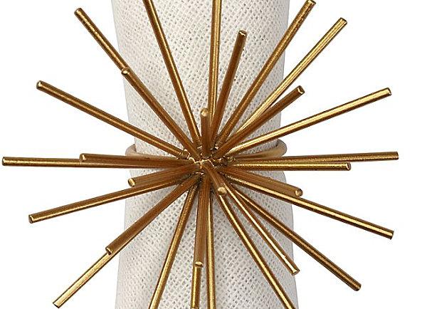 Spiky gold napkin ring