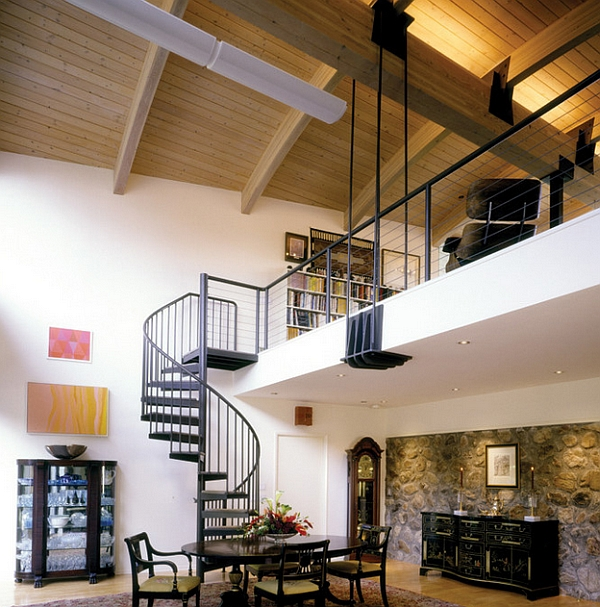 Spiral staircase leads to the top level