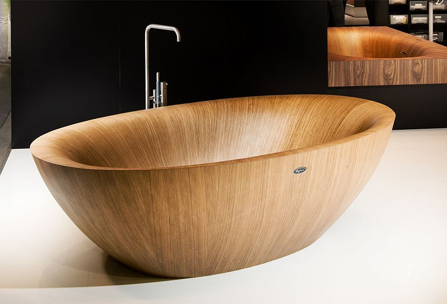 Standalone wooden bathtub design model