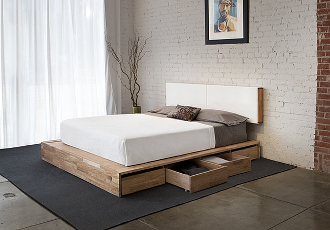Minimalist wooden decor offers organic small space solutions - Guest bed solutions small spaces minimalist ...