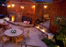 String lights in an inviting backyard