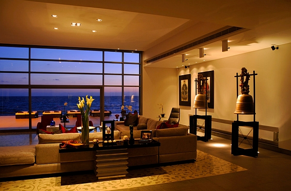 View In Gallery Stunning Asian Themed Living Room Warm Hues