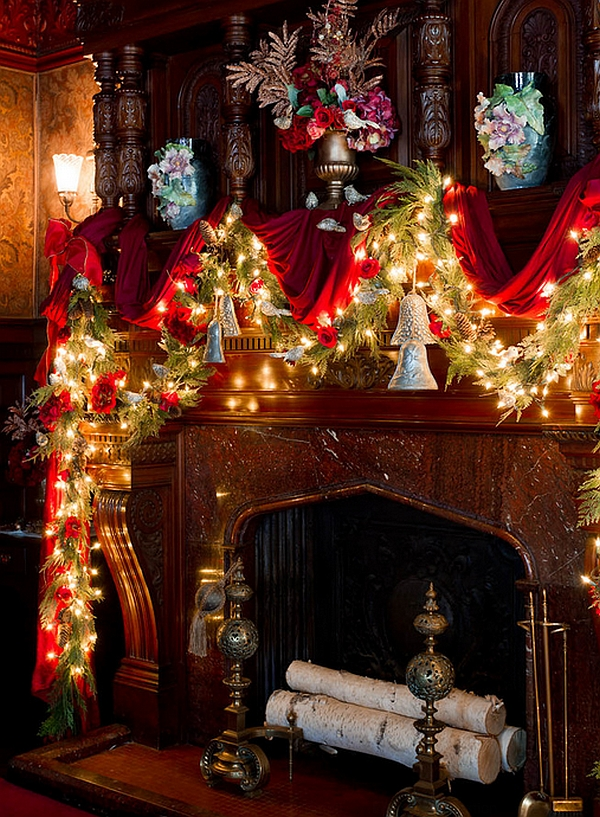 Stunning holiday mantel in sparkling red and green