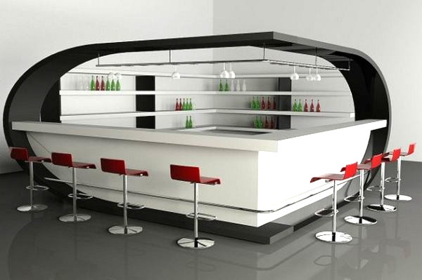 Stunning home bar with a futuristic motif