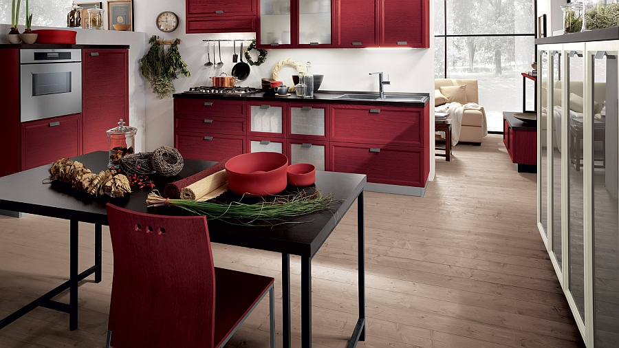 Stunning kitchen in red oak shelves and black laminate tops