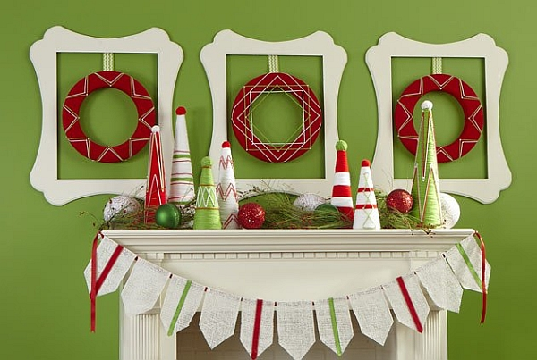 Stylish Christmas mantel with homemade wreaths above it!