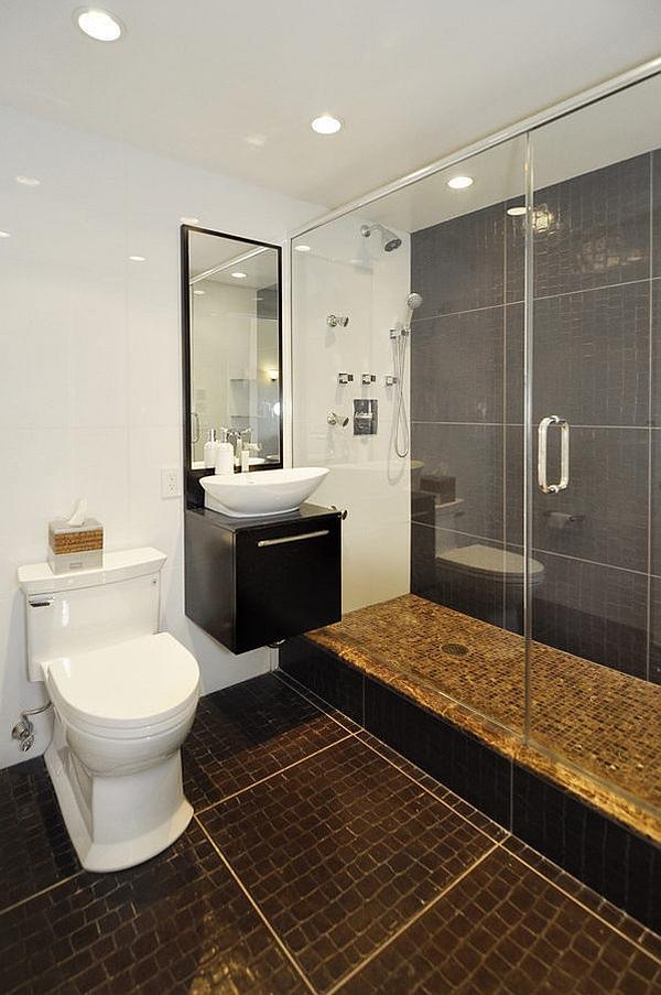 Stylish bathroom with glass shower enclosure
