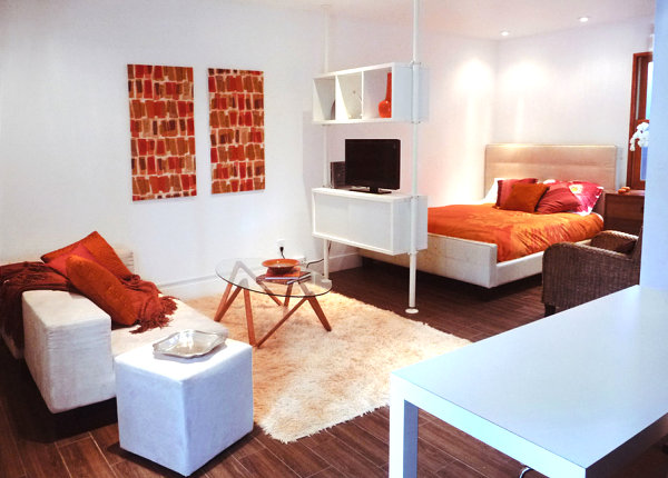 Stylish garage conversion studio apartment
