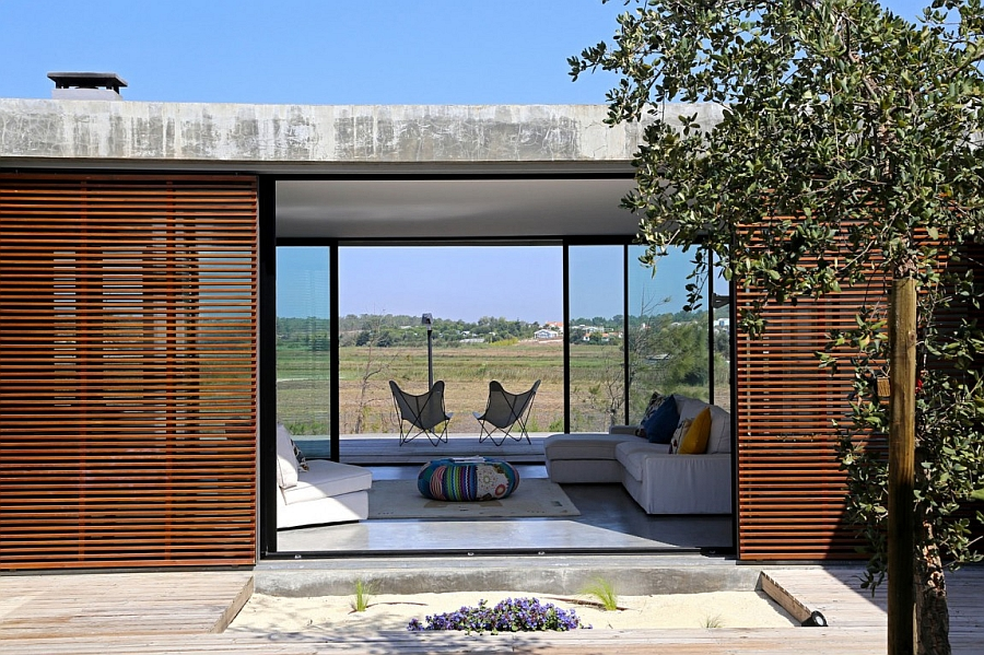 Stylish glass doors coupled with wooden textures