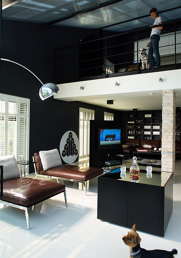 Stylish home with a black and white color scheme