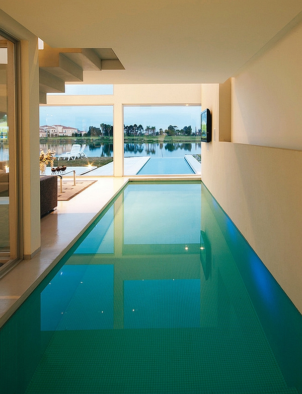 Smart Design And Glass Windows Add Elegance To The Space Stylish Indoor Pool Is Visually Connected With Outside