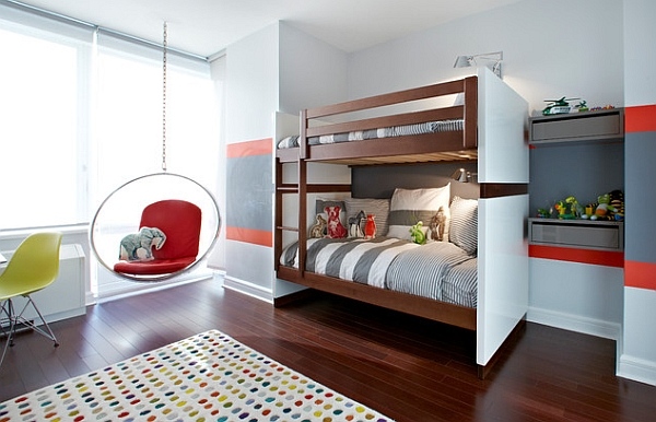 Stylish kids' bedroom with bunk beds and the Aarino Bubble Chair