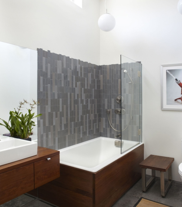 view in gallery stylish modern bathroom in white - Bathroom Tub And Shower Designs
