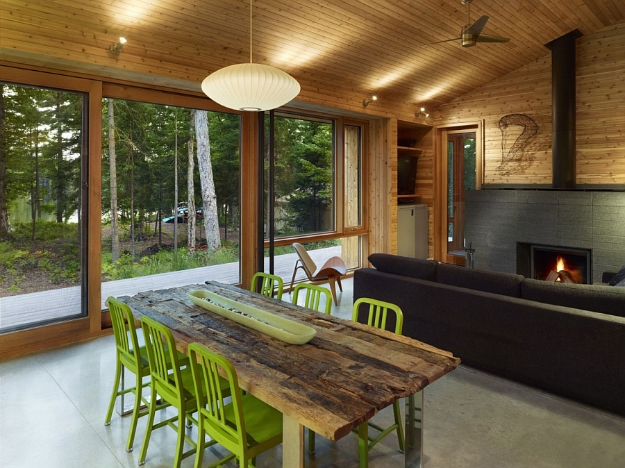Ultra modern cabin blends rustic warmth with modern minimalism for Log cabin interiors modern