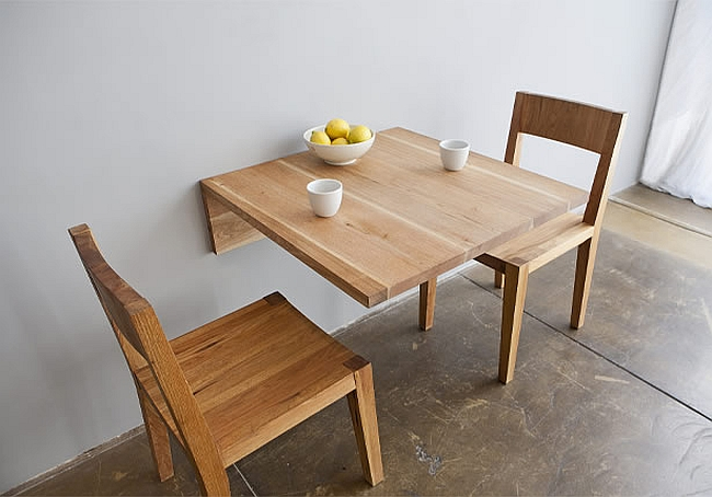 Stylish wall mounted breakfast nook table in wood