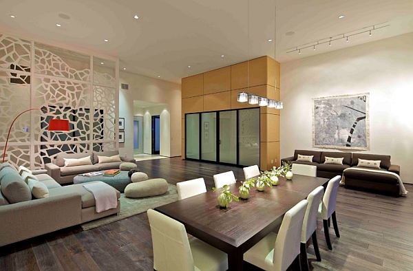 Stylish way to organize open floor plan living space with glass dividers