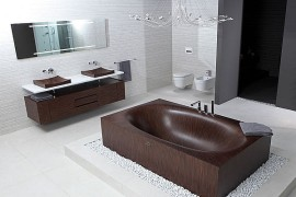 Stylish wooden bathtubs from Alegna