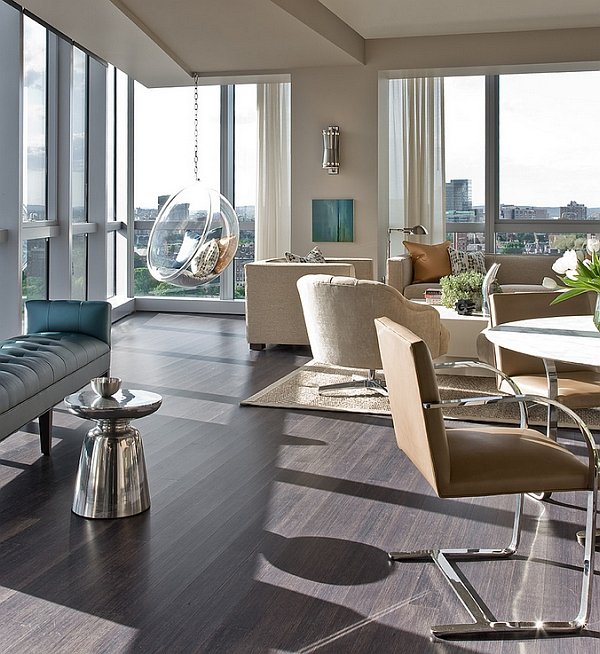 Take in the sights and sounds of Boston skyline as you sink into the Bubble Chair