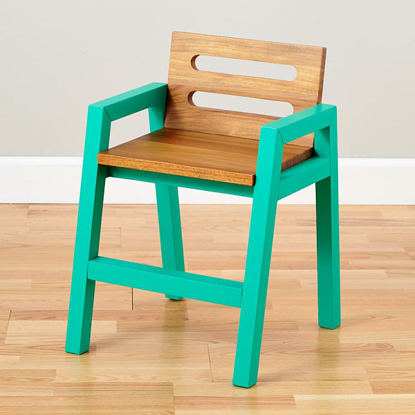 Teak children's chair with teal legs