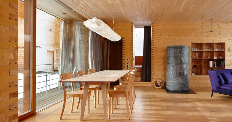 Timber filled interiors of the Peter Zumthror retreats