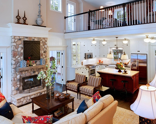 Traditional living room with a mezzanine level that draws attention instantly
