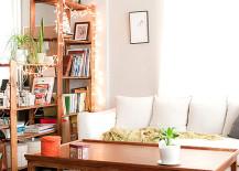 Twinkle lights glisten on a shelf